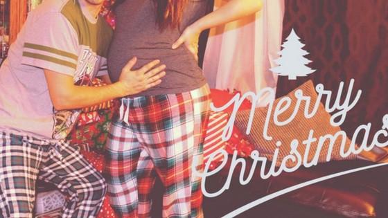 merry christmas maternity photo shoot with husband