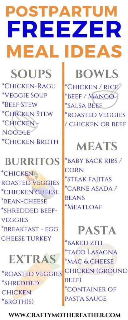 image of list of foods to try to make freezer meals before pregnancy