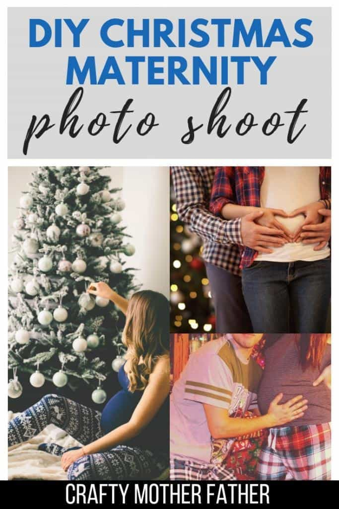 Christmas Maternity Photo Shoot at home DIY maternity pictures for the holidays