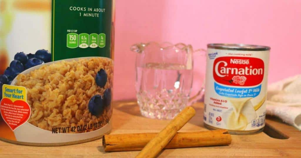 four ingredient oatmeal lactation smoothie - oatmeal, water, cinnamon, evaporated milk