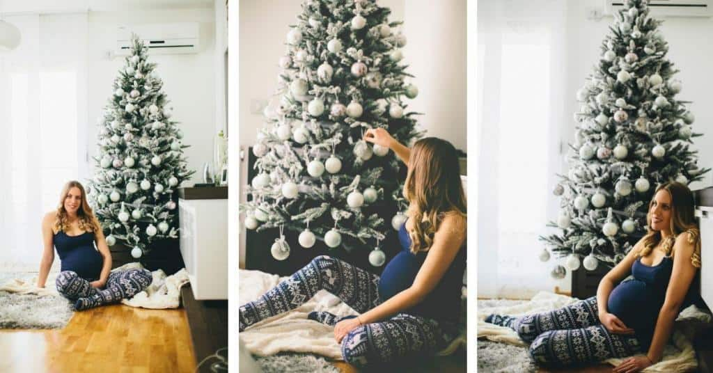 how to use lights and Christmas decorations to take the best at home maternity pictures