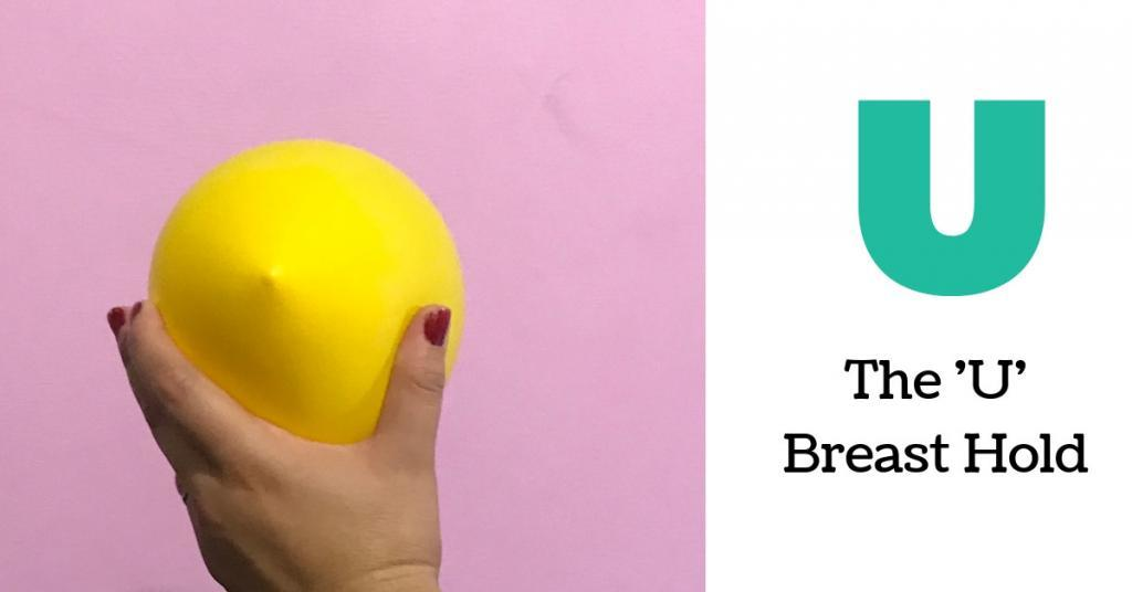 the u breast hold is perfect for women with large breast to bring baby to their breast and get a good breastfeeding latch