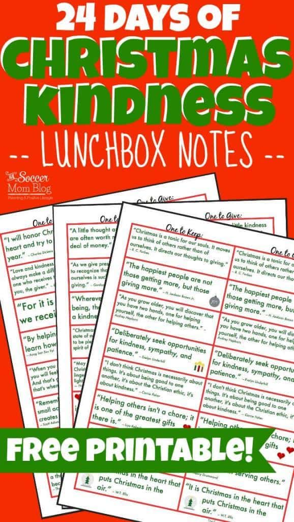 christmas kindness lunch box notes
