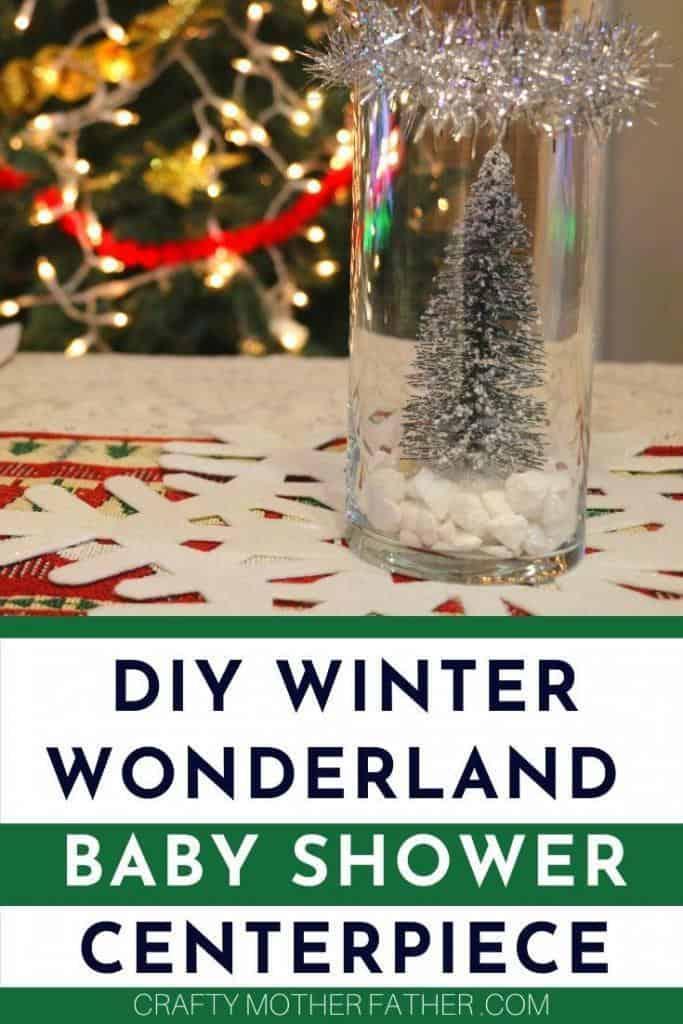DIY winter baby shower centerpiece for a winter wonderland theme