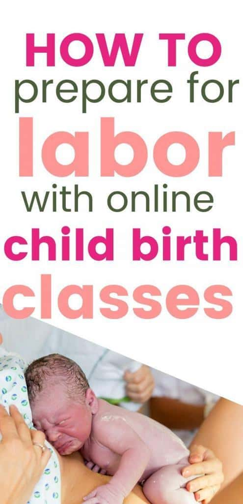 how to prepare for labor with an online childbirth class. With an image of a newborn on top of a mothers belly